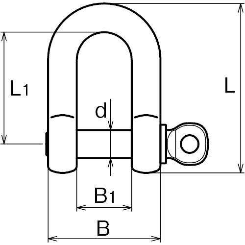 ASANO ピンシャックル 13mm 製品図面・寸法図
