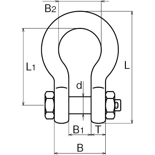 ASANO ダルマシャックル 28mm 製品図面・寸法図