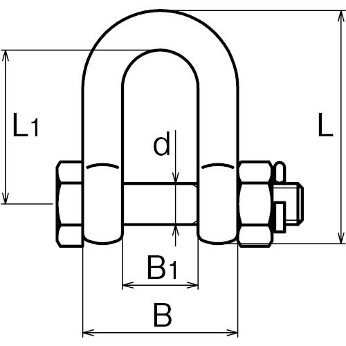 ASANO ボルトシャックル 13mm 製品図面・寸法図