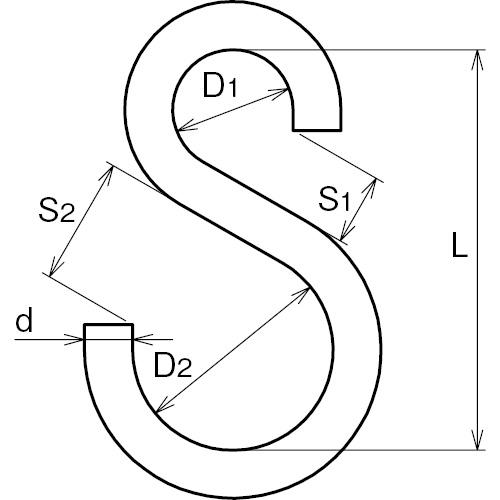 ASANO Sカン 4mm 製品図面・寸法図