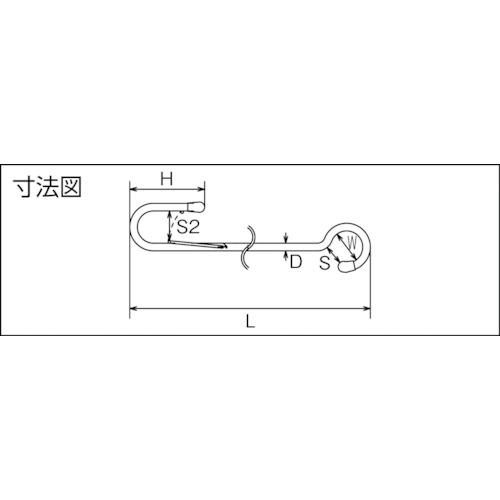 水本 ステンレス スーパーロングSカン 5ミリ 全長1800mm 製品図面・寸法図