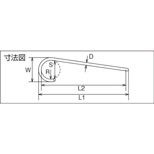 水本 ファンシーSフックツイスト(シルバー) 全長400mm 製品図面・寸法図