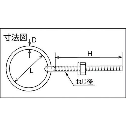 水本 ステンレス 丸カンボルト(ブネジ) ねじ径W-3/8 製品図面・寸法図