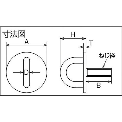 水本 ステンレス ネジ込みラウンドアイ 捻径 M-6 製品図面・寸法図