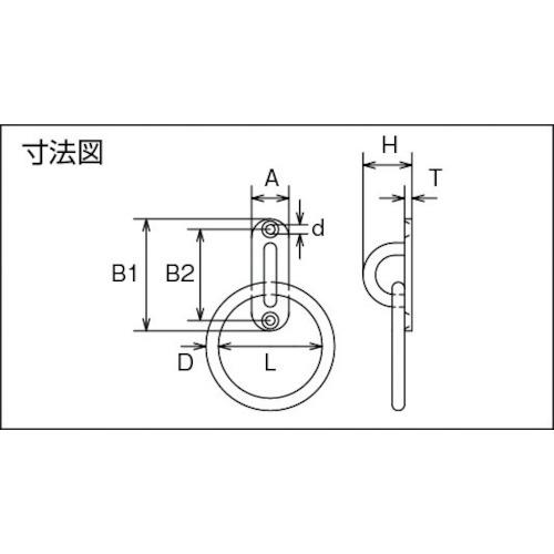 水本 ステンレス パッドアイ丸カン 丸カン内径60mm 32mm×100mm 製品図面・寸法図