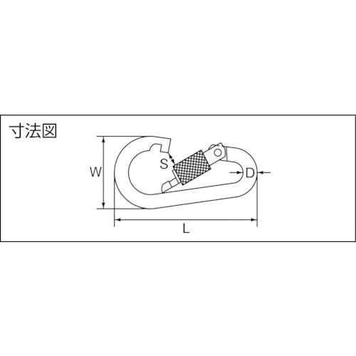 水本 ステンレス ナス型カラビナ 線径6mm長さ64mm 製品図面・寸法図