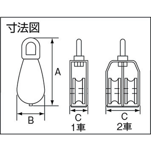 水本 ステンレス 豆ブロック 1車 使用ロープ径Φ~9mm 製品図面・寸法図
