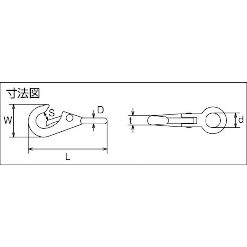 水本 ステンレス 固定スナップ 線径4mm長さ53mm 製品図面・寸法図