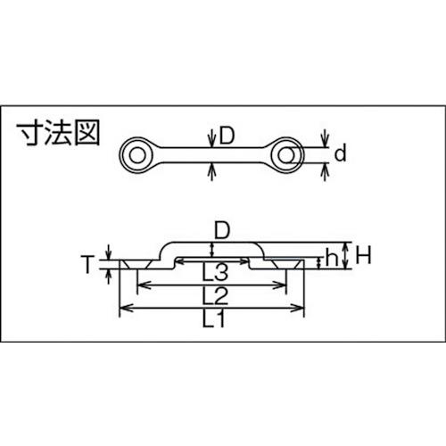 水本 ステンレス ローアイストラップ 線径8mmピッチ57mm 製品図面・寸法図