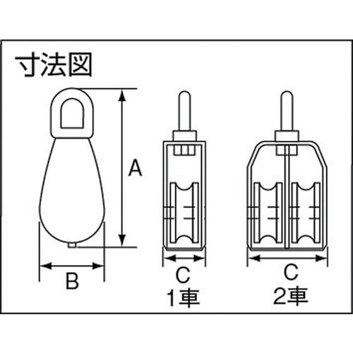 水本 ステンレス 豆ブロック 2車 使用ロープ径Φ~9mm 製品図面・寸法図