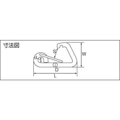 水本 ステンレス L型フック 長さ124mm 製品図面・寸法図