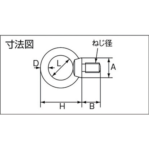 水本 ステンレス アイボルト(鍛造製)ミリネジ ねじ径M-8 製品図面・寸法図