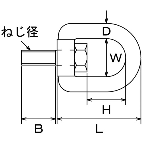 水本 ステンレス スイベルボルト ミリネジ ねじ径M-12 製品図面・寸法図