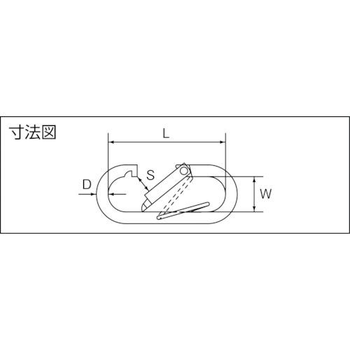 水本 ステンレス プチカラビナ(ハズレ止め付) 線径8mm長さ74mm 製品図面・寸法図