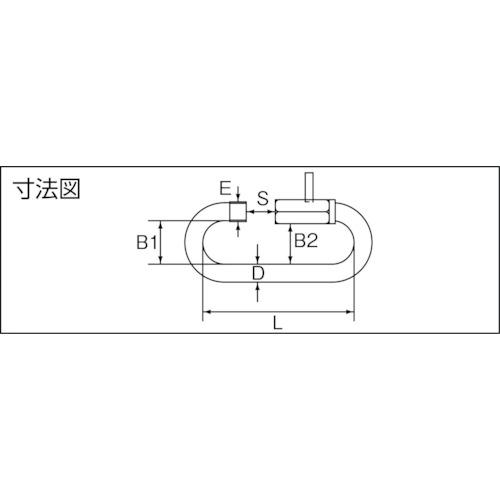 水本 ステンレス ピン止めリングキャッチ 線径8mm長さ61mm 製品図面・寸法図