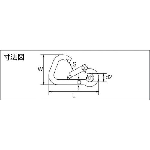 水本 ステンレス スナップフックBD型 線径5mm長さ50mm 製品図面・寸法図