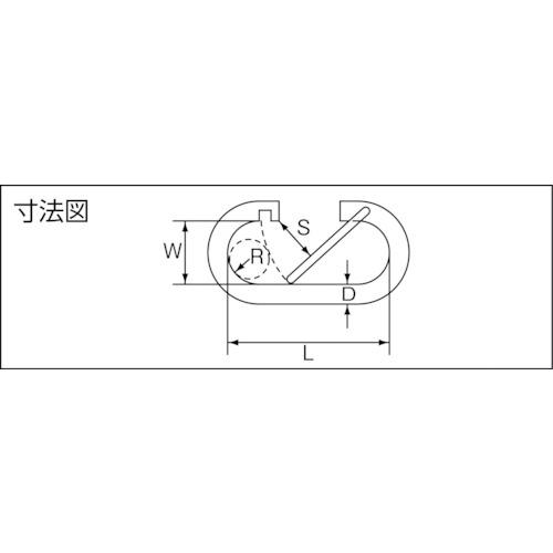 水本 ステンレス O型フック 線径8mm長さ55mm 製品図面・寸法図