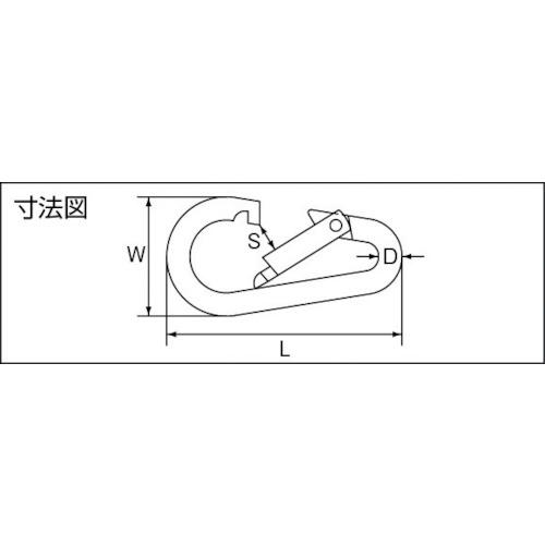 水本 ステンレス ナス型カラビナ(環なし) 線径3mm長さ38mm 製品図面・寸法図