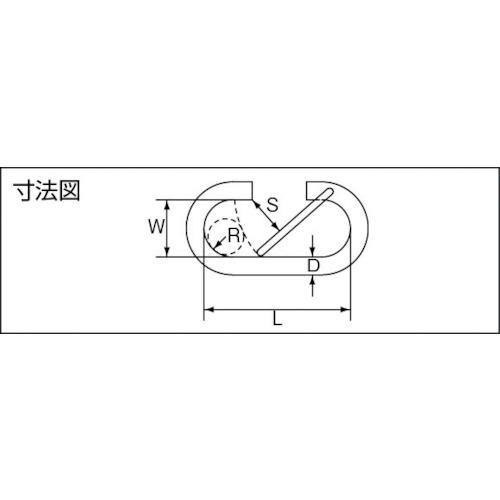 水本 ステンレス O型フック 線径6mm長さ52mm 製品図面・寸法図