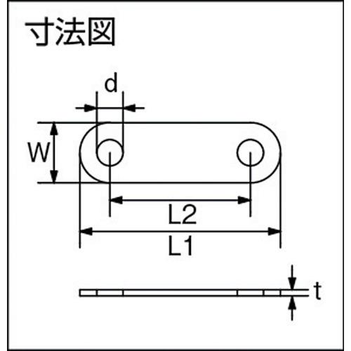水本 ステンレス Uボルト用楕円プレート 穴径6.5mmピッチ35mm (2個入) 製品図面・寸法図