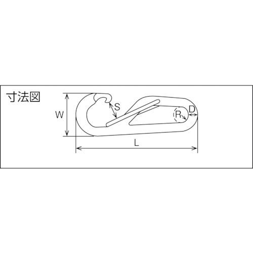 水本 ステンレス ロープフック 線径6mm長さ80mm 製品図面・寸法図