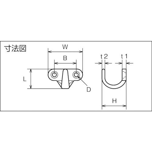水本 ステンレス コートフック(CHF) 幅40mm 製品図面・寸法図