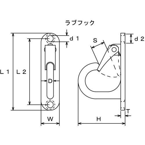 水本 ステンレス ラブフック 平面用 全長105mm 製品図面・寸法図-1