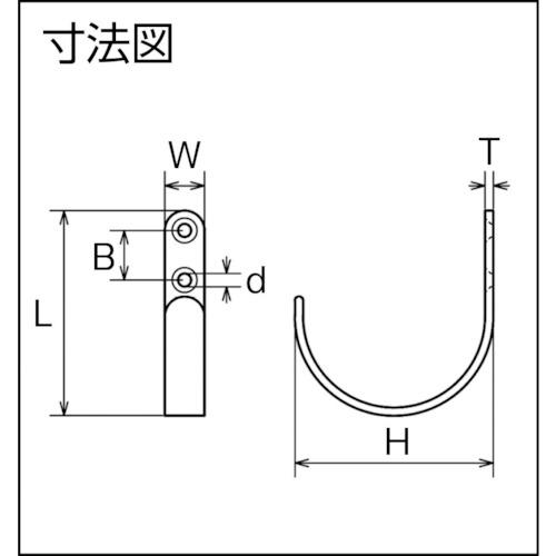 水本 ステンレス シートフックE型 全長62mm 製品図面・寸法図