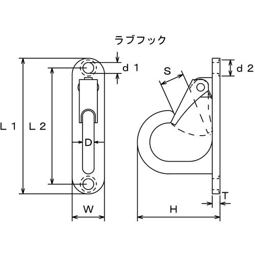 水本 ステンレス ラブフック 曲面用 全長105mm 製品図面・寸法図-1