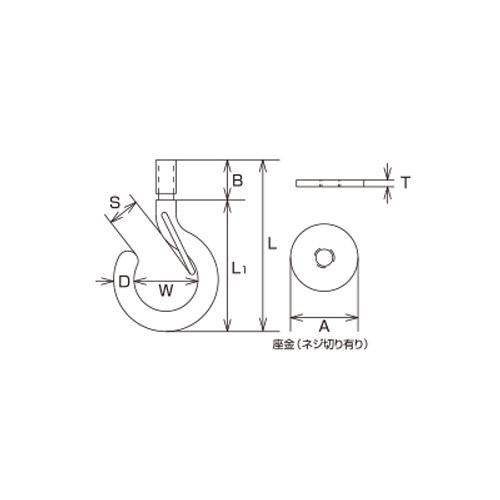 水本 ステンレスボルトフック(ブネジ)(カットアンカー付)フックの長さ50mm 製品図面・寸法図
