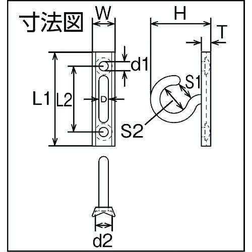 水本 ステンレス プレートフック縦型 線径4mm 製品図面・寸法図