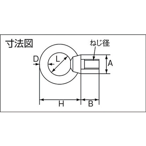 水本 ステンレス アイボルトブネジ ねじ径W-1/2 製品図面・寸法図
