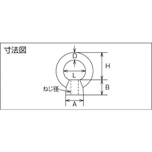 水本 ステンレス アイナット ブネジ ねじ径W-5/16 製品図面・寸法図