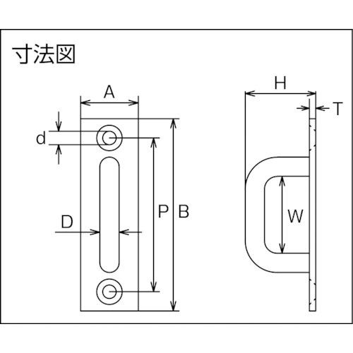 水本 ステンレス ロングアイ 21mm×70mm 製品図面・寸法図