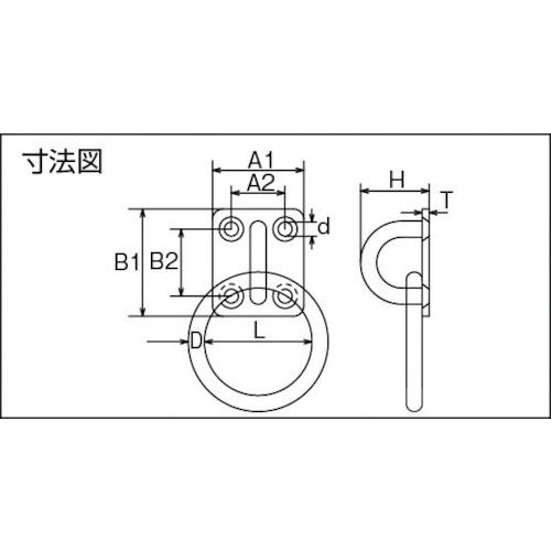 水本 ステンレス 丸カンプレート 42mm×58mm丸カン内径50mm 製品図面・寸法図