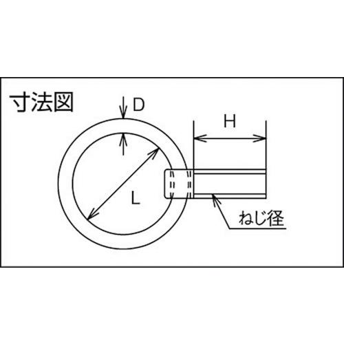 水本 ステンレス リングボルト(ミリネジ) ねじ径M-14 製品図面・寸法図