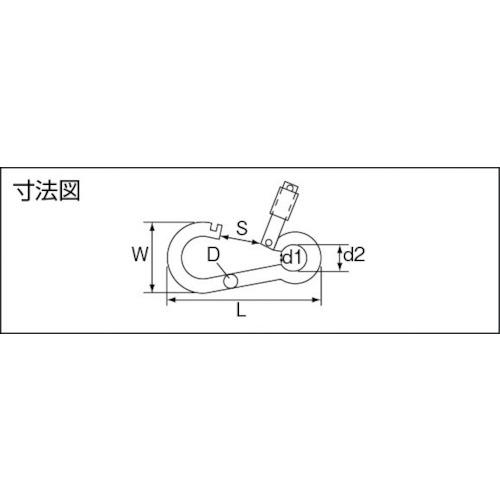 水本 ステンレス オープンフックB型 線径6mm長さ63mm 製品図面・寸法図