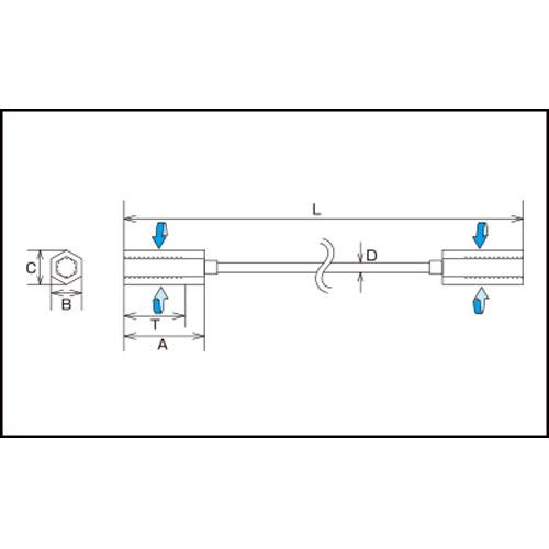 水本 ステンレス ワイヤーナット(ミリネジ) ねじ径M-6 全長200mm 製品図面・寸法図