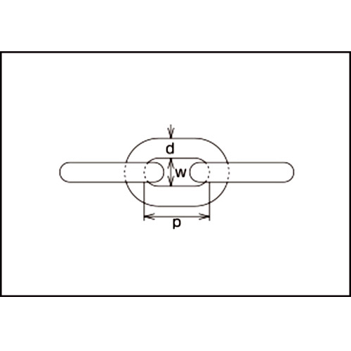 水本 黄銅チェーン 30m 線径5mm 製品図面・寸法図