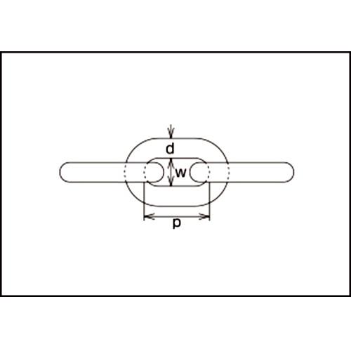 水本 黄銅チェーン 30m 線径6mm 製品図面・寸法図