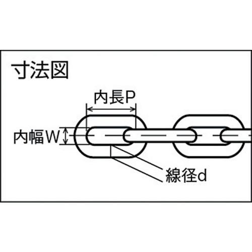 水本 ステンレス スーパーデフチェーン 0.6m 線径6mm 製品図面・寸法図
