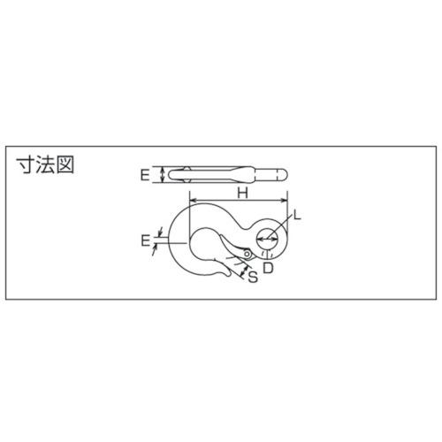 水本 ステンレス 重量フック 0.5t(鍛造製)(ラッチなし) 製品図面・寸法図