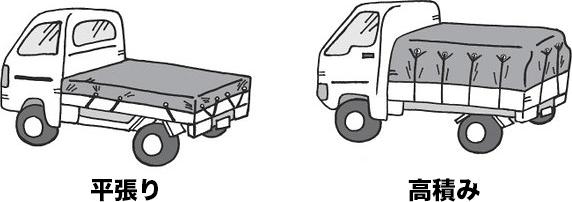 トラックシート平張りと高積み